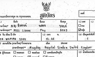 Thai Birth Certificate Translation